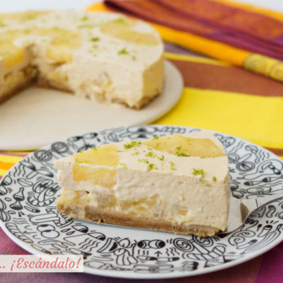 Tarta de pina y yogur fria sin horno. Receta facil