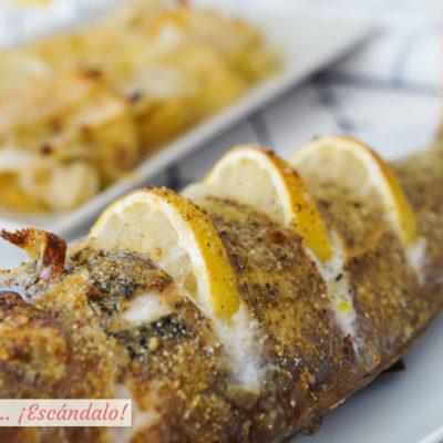 Besugo al horno con patatas al vino y limon