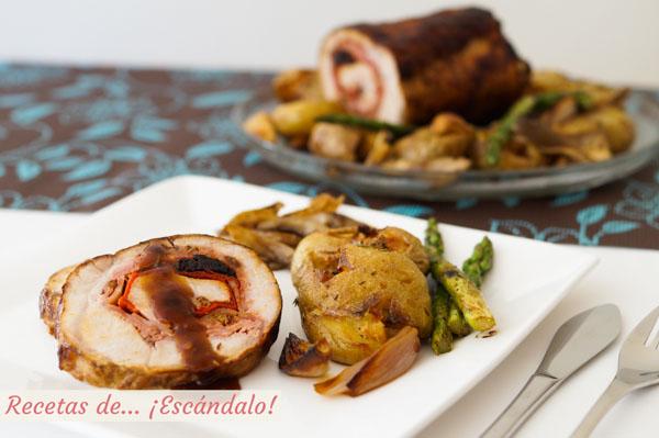 Lomo De Cerdo Relleno Al Horno Con Patatas Cebollitas Setas Y Espárragos
