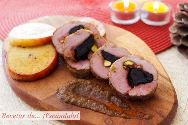 Solomillo de cerdo relleno al horno con manzana y salsa de - Como preparar un solomillo de cerdo al horno ...