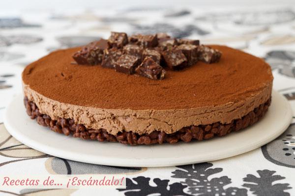 Receta de tarta de turron de chocolate y queso
