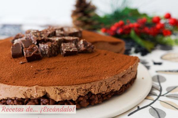 Receta muy facil y sin horno de tarta de turron de chocolate y queso