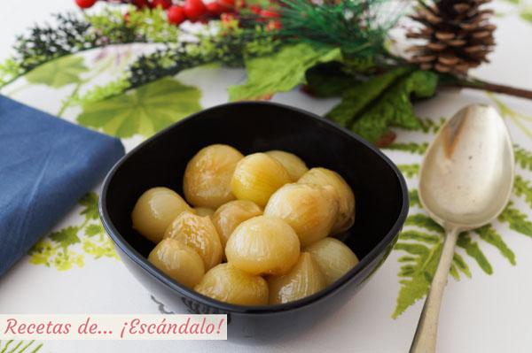 Receta de cebollitas francesas glaseadas (y caramelizadas). Guarnición ideal para carnes y pescados