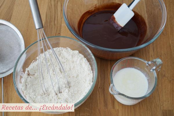 Ingredientes para hacer muffins de chocolate