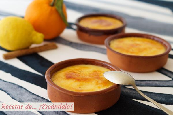 Como hacer crema catalana con su azucar quemada. Receta tradicional