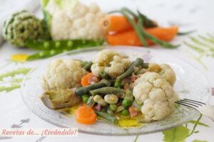 Menestra de verduras con jamon. Receta facil y saludable