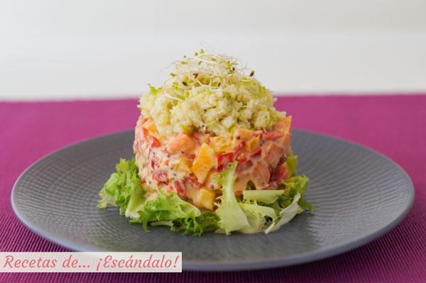 Receta de ensalada de cangrejo o jaiba con pimientos y papaya