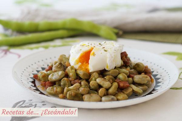 Receta facil de habas con jamon y huevo poche