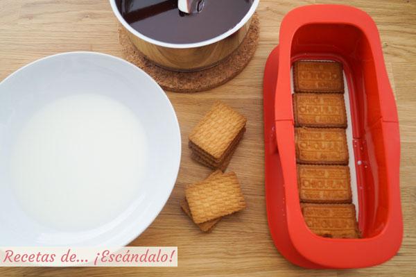 Receta de tarta de galletas y chocolate