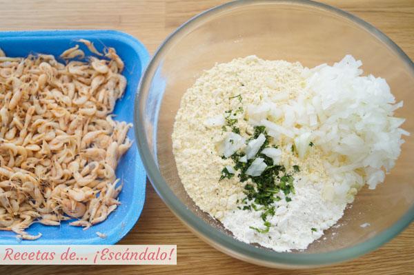 Ingredientes para las tortitas de camarones