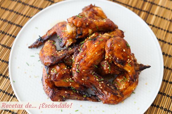 Receta facil de alitas de pollo al horno con miel y salsa de soja
