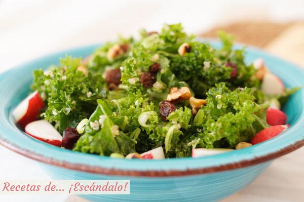 Como hacer ensalada de quinoa y kale con vinagreta de mostaza, deliciosa
