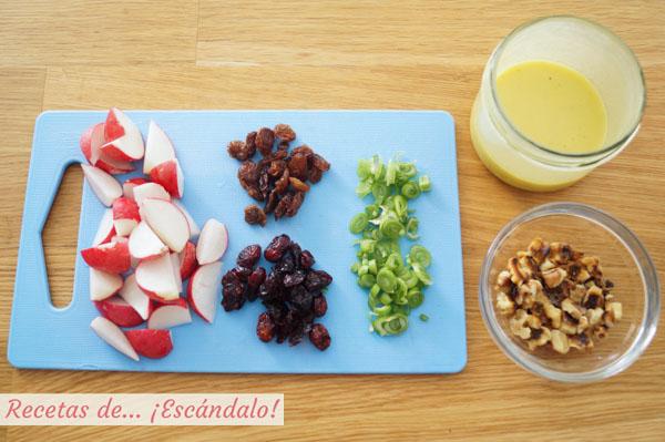Ingredientes ensalada de kale y quinoa