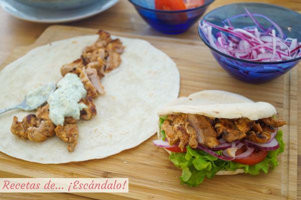 Como hacer doner kebab o durum kebab de pollo con salsa tzatziki