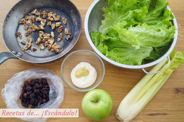 Ingredientes para la ensalada Waldorf