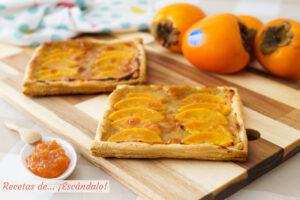 Tarta de hojaldre y crema pastelera con kaki persimon