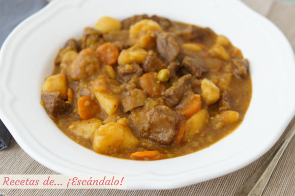 Como hacer estofado de ternera con patatas y verduras. Receta de carne en salsa