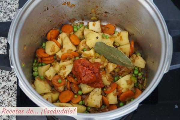 Ingredientes para el estofado de ternera con patatas y verduras