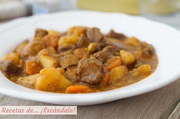 Receta de estofado de ternera con patatas y verduras