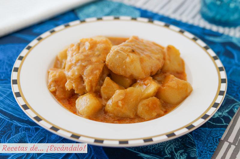 Patatas con bacalao. Receta de guiso de pescado