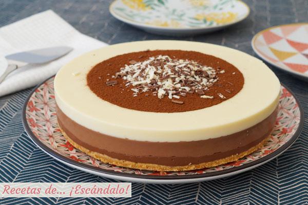 Receta muy facil de tarta de tres chocolates paso a paso