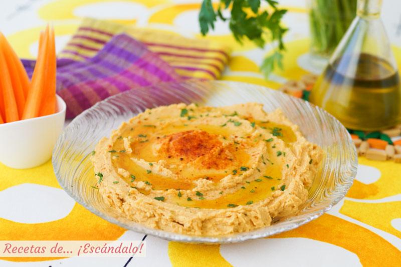 Hummus de garbanzos o pure de garbanzos, facil y riquisimo