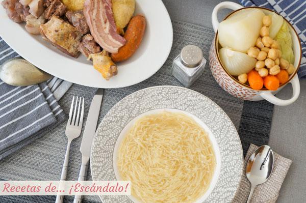Receta de cocido madrileno. Receta tradicional, facil y deliciosa
