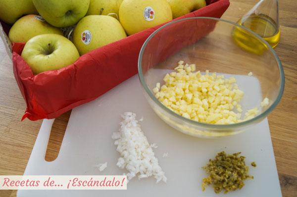 Tartar de salmon con manzanas golden