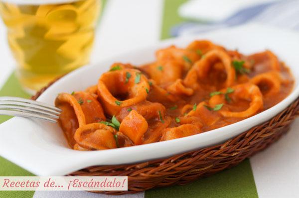 Receta de calamares en salsa americana, tiernos y riquisimos