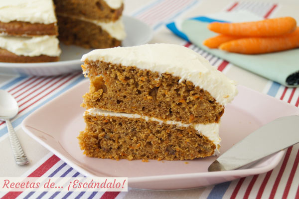 Receta de tarta de zanahoria o carrot cake, un pastel de zanahoria irresistible