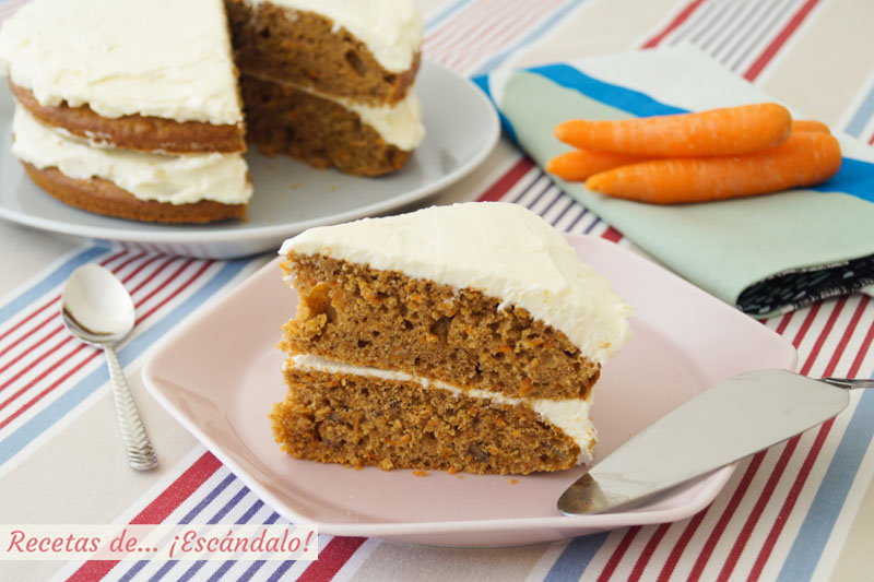 Tarta de zanahoria o carrot cake. Receta de pastel de zanahoria irresistible