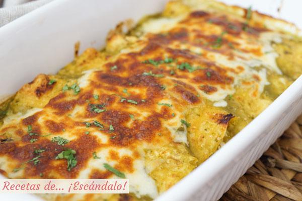 Como hacer enchiladas de pollo con salsa verde y queso, al estilo suizas