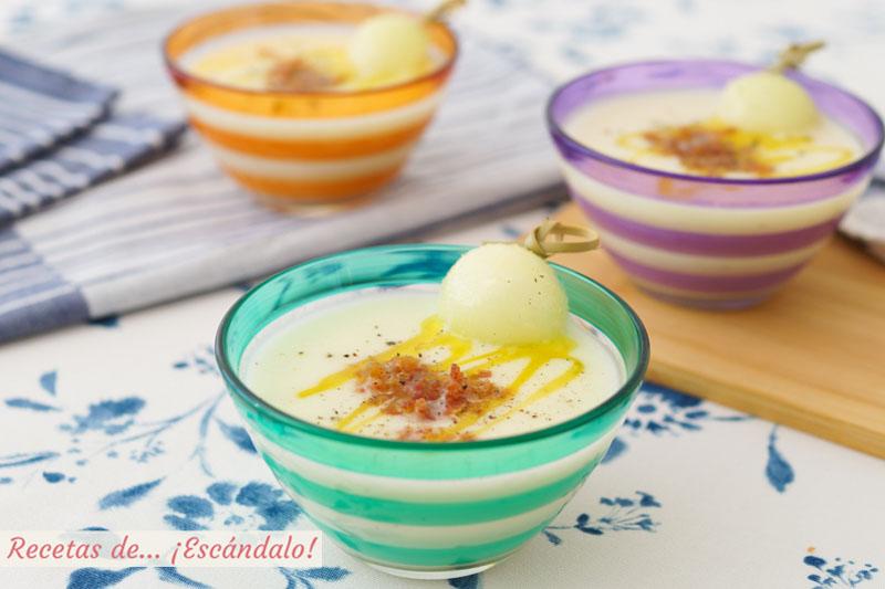 Sopa fria de melon con jamon crujiente. Receta facil y refrescante