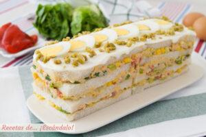 Pastel de atun frio con pan de molde. Receta de aperitivo