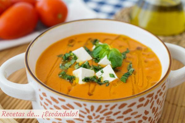 Receta de sopa de tomate, caliente o fria y muy facil