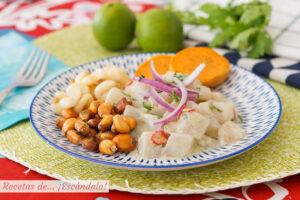 Ceviche peruano de corvina con leche de tigre, muy facil y rico