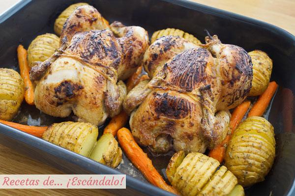 Como hacer picantones al horno con patatas hasselback y zanahorias baby
