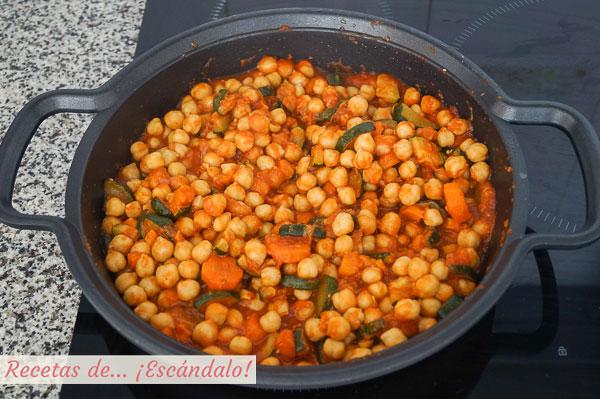 Como hacer potaje de garbanzos con verduras, facil y rico