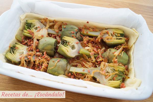 Ingredientes tarta salada de alcachofas, jamon y queso cheddar