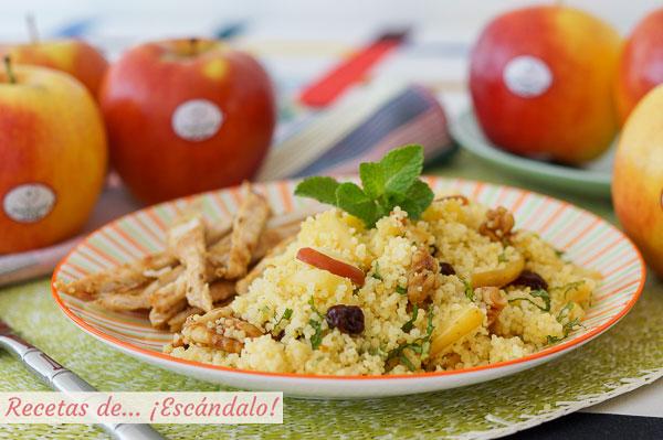 Receta de cuscus con manzana, hierbabuena y pechuga de pollo a la plancha