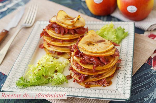 Receta de timbal de manzanas y confit de pato con reduccion de vino