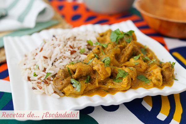 Receta de pollo tikka masala con arroz y especias