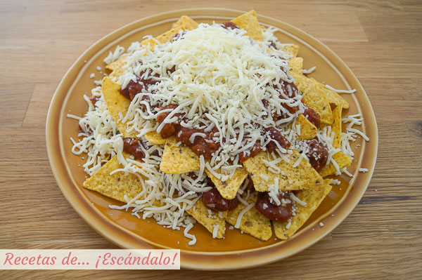 Ingredientes nachos con queso y chili con carne