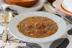 Lentejas con chorizo. Receta tradicional muy facil y deliciosa