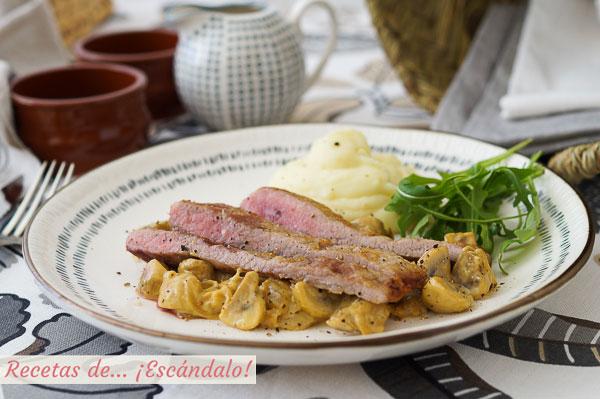 Receta de secreto de cerdo iberico con champinones cremosos a la mostaza