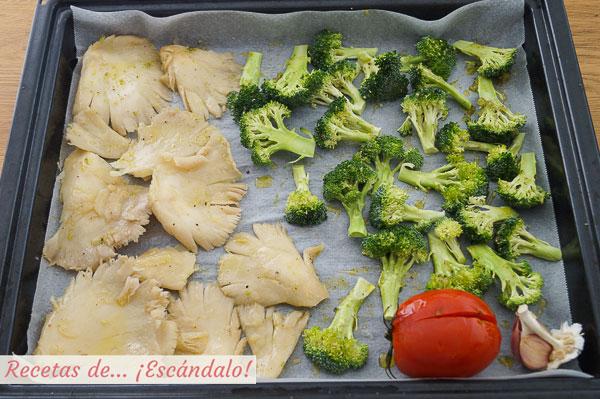 Verduras al horno, brocoli y setas