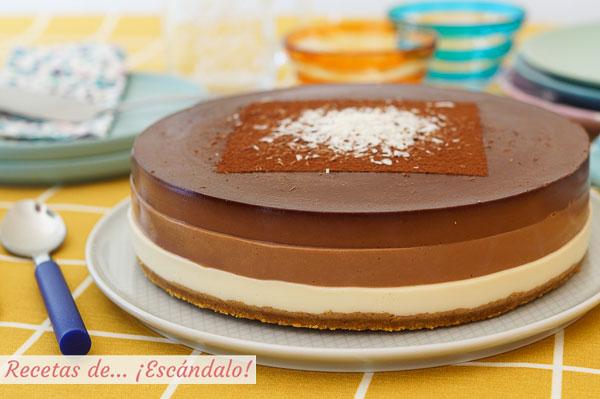 Como hacer tarta tres chocolates con Thermomix, facilisima y con un resultado de 10