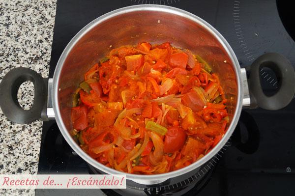 Verduras para catchup cocinadas
