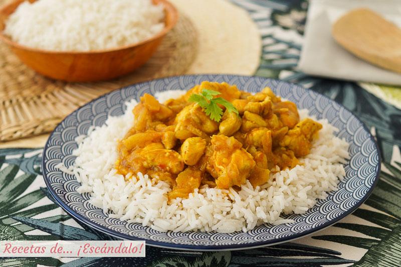 Pollo al curry y arroz basmati con Thermomix, exotico y delicioso