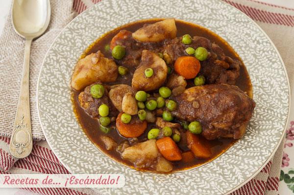 Como hacer estofado de pollo con patatas y verduras, riquisimo